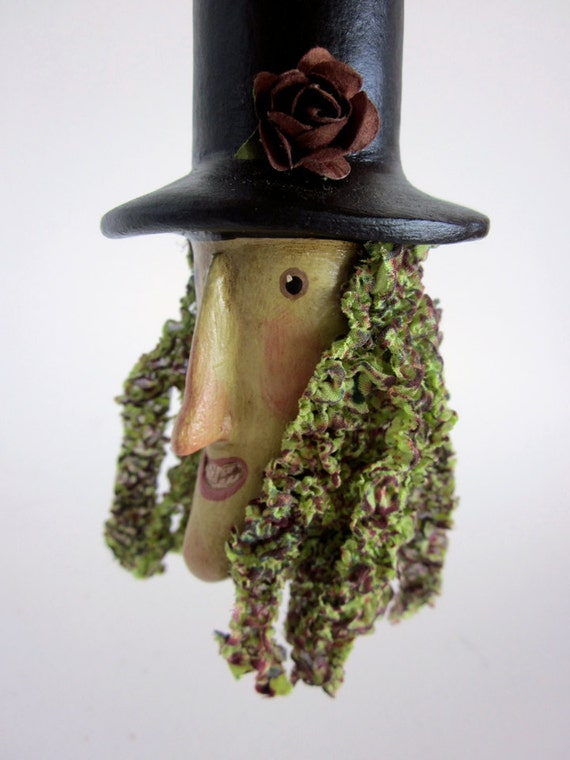 Witchy Greens Primitive Rustic Halloween  Ornament