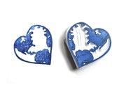 Heart the World Hand Carved Rubber Stamp, World in the Shape of a Heart, Unmounted