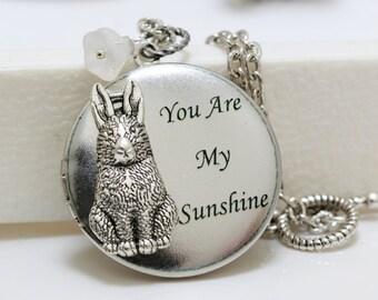 Bunny Love,Jewelry Gift,Locket,Silver Locket,Rabbit,Bunny,Antique Locket,Woodland,You are my sunshine,Bridesmaid Necklace,Wedding Necklace,