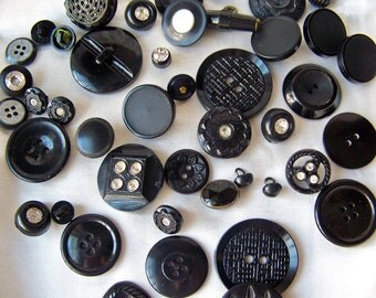 Vintage Black Buttons Old Button Collection Sewing Room Seamstress Bakelite Rhinestone Supplies Vintage from 1930s to 1950s