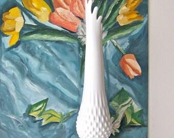 Vintage Milk Glass Hobnail Vase Swung Vase Ruffled Style Top Classic White Wedding Vase 1980s