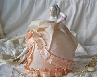 Vintage Pin Cushion Doll with Legs Porcelain Half Doll Pink Silk Vanity Display Wedding Gift Bridal Shower Vintage 1940s