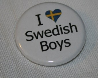 "I ""Heart"" Swedish Boys 1.25 inch Pinback Button"