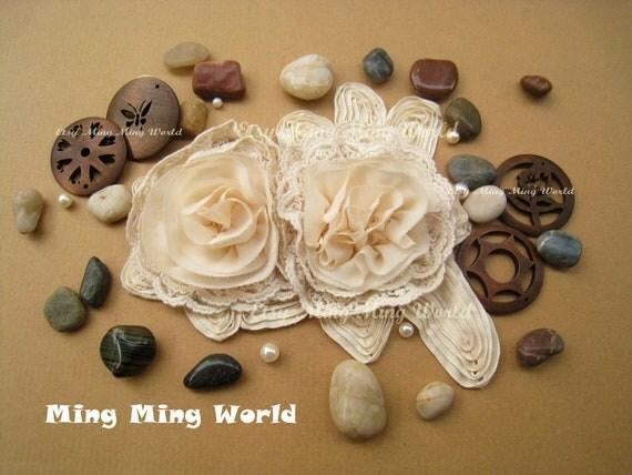 Cotton and Chiffon Embroidery  Applique Trim - 1 PCS Beige 3D Flower Applique