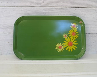 Vintage Aluminum Serving Trays Green with Yellow Daisies