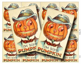 Vintage Halloween JOL Pumpkin Digital Collage Sheet Instant Download for Hang Tags Scrapbooking Cards Ornament Crafts by GalleryCat CS180