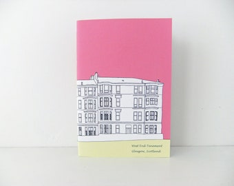 Small Glasgow notebook, Travel Journal, Scottish Journal, A6 journal, hot pink journal,  handbag notebook - Blank Journal