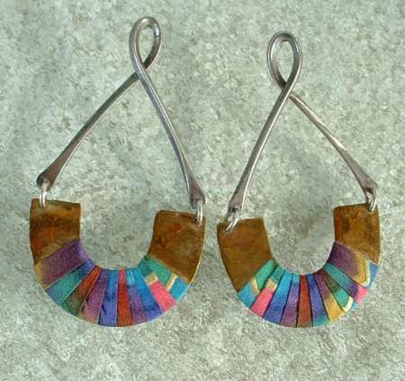 Egyptian Style Brass Dangle Earrings with Silk Wraps Unusual Post Style Hoops Vintage Jewelry