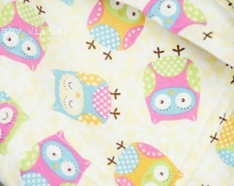 Stroller Blanket Minky Owls Girl or Boy Yellow Blue Pink Orange Green - Name Available - Whoo Loves Baby