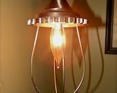 Industrial Steel Pendant Light - Repurposed Sprocket - Steel Cage - Nickel Finish - Steampunk