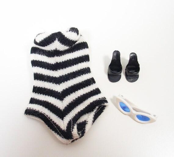 Vintage Barbie Original Swimsuit Outfit - Zebra Stripe Suit, White Sunglasses, Black Heels