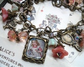 Pink Rosaline Alice In Wonderland Charms Bracelet in Antique Bronze