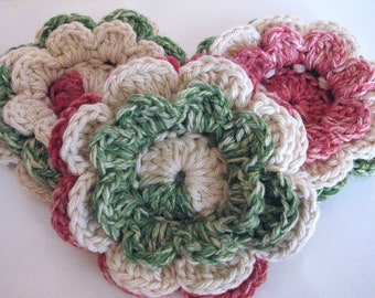 Large Christmas Crochet Flowers - 3 Layered Flowers Perfect for Christmas
