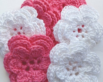 Crochet Flower Appliques - 6 Handmade Three Layer Flowers - Bright Pink and White