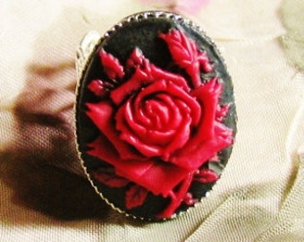 Red ROSE CAMEO adjustable Ring - gothic renaissance medieval goth faerie fairy