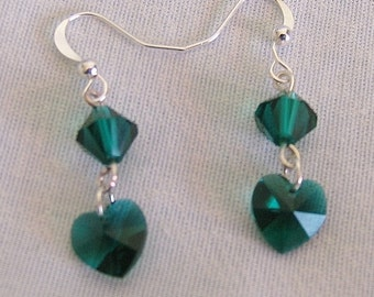 Green Crystal Dangle Heart Earrings with Sterling Silver