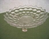 Vintage Depression Glass Serving Bowl Fostoria American Footed Bowl