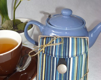 Tea Bag Travel Wallet - Blue and Gold Stripe, Hostess Gift, Free Shipping - USA, Ships Worldwide