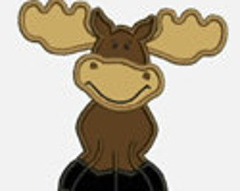 Moose...Embroidery Applique Design...Three sizes for multiple hoops...Item1289...INSTANT DOWNLOAD