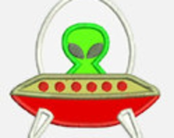 Space Ship...Embroidery Applique Design...Three sizes for multiple hoops...Item1265...INSTANT DOWNLOAD