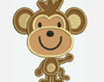 Monkey...Embroidery Applique Design...Three sizes for multiple hoops...Item1026...INSTANT DOWNLOAD