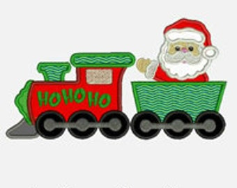 Santa HoHoHo Train ...Embroidery Applique Design...Three sizes for multiple hoops...Item1357...INSTANT DOWNLOAD