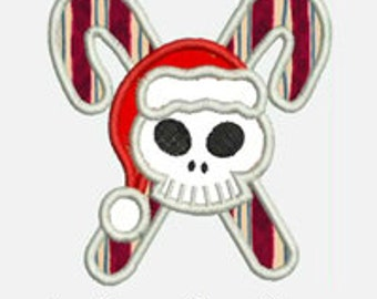 Candy Cane Skull Santa...Embroidery Applique Design...Three sizes for multiple hoops...Item1427..INSTANT DOWNLOAD.