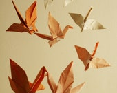 Origami Mobile - Flying Cranes in Peach Sunrise Colors - Hanging Decor - Origami Paper Sculpture - Modern Mobile