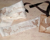 Muslin La Provance Rooster Vintage Hand Stamped Muslin Ribbon ECS