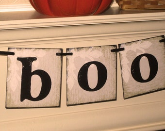 Vintage Large BOO Halloween Garland Banner Sign by Vintage Paris Market