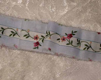 French Inspired Ribbon Floral Trim, Candy Shabby Chic Ribbon, Country Rose Ribbon, French Market Inspired Hand Distressed Ribbon, ECS