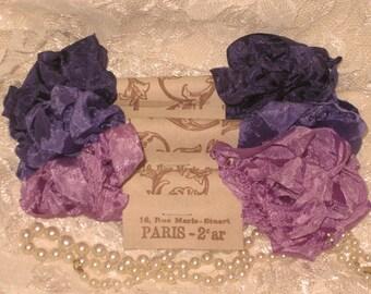 Scrunched Seam Binding ribbon, Crinkled Seam Binding, Scrunched Crinkled French Inspired Seam Binding Ribbon French Violette ECS