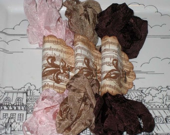 Scrunched Seam Binding ribbon, Crinkled Seam Binding Packaged French Neopolitan ESC