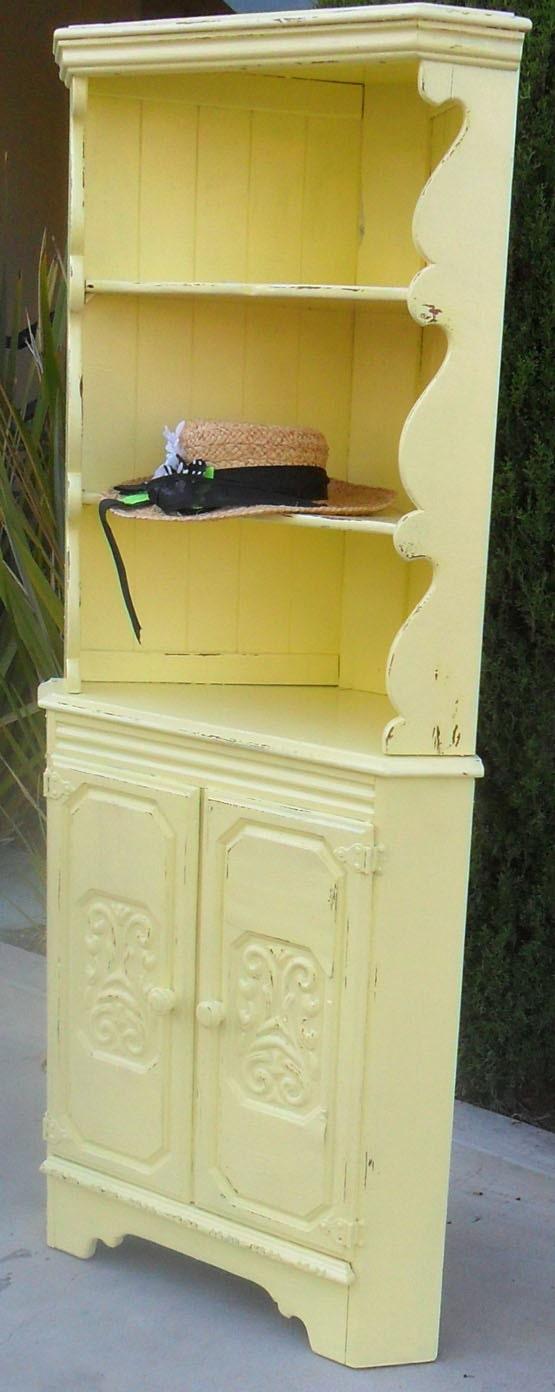 vintage yellow corner cabinet. Black Bedroom Furniture Sets. Home Design Ideas