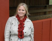 The Handmade Crochet Ebb and Flow Infinity Scarf in Carmine (Dark Red)