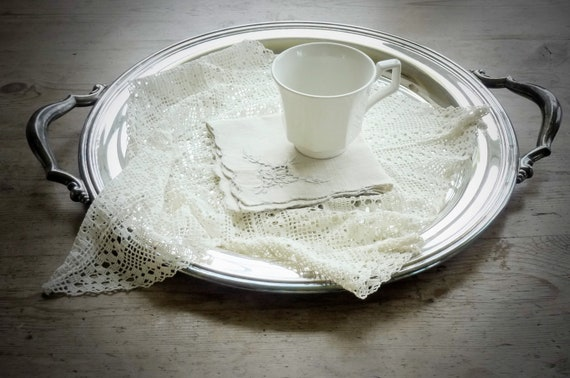 Vintage Silver Tray with Handles, from Garden of Simples
