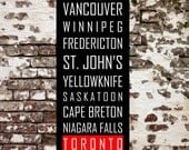 CANADIAN CITIES Subway Roll Sign, Bus, Tram Scroll Vintage Style Destination Art Print on Styrene 12x36