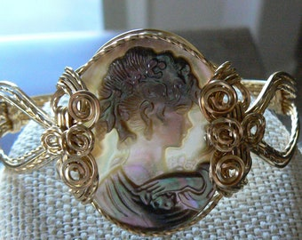 Naturally colored CAMEO BRACELET, wrapped in gold filled wire