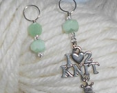 I Love To Knit -  Green Vintage Frosted Glass Knitting Stitch Markers - Size 10