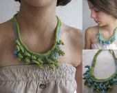 Crocheted reversible necklace - green and blue necklace - fiber fringes necklace, bohemian, boho chic