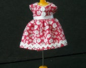 Tiny Pink and White Print Dress for LPS Blythe or Petite Blythe
