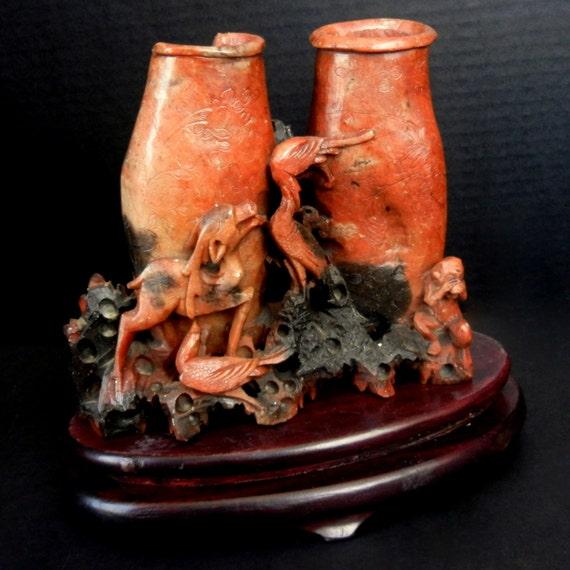 "Vintage SOAPSTONE Vase Sculpture with Monkey, Faun, Flowers, Birds  //  7 1/2""w  //  gu15"