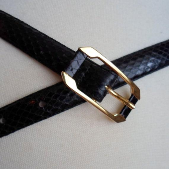 Black Snakeskin Belt wth Gold Tone Buckle