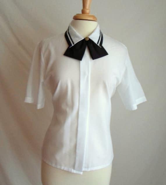 White & Black Bow Tie Secretary Blouse