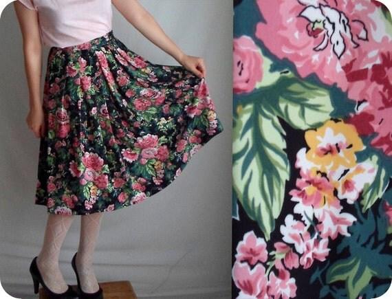 Pink & Black Rose Floral Skirt with Pockets