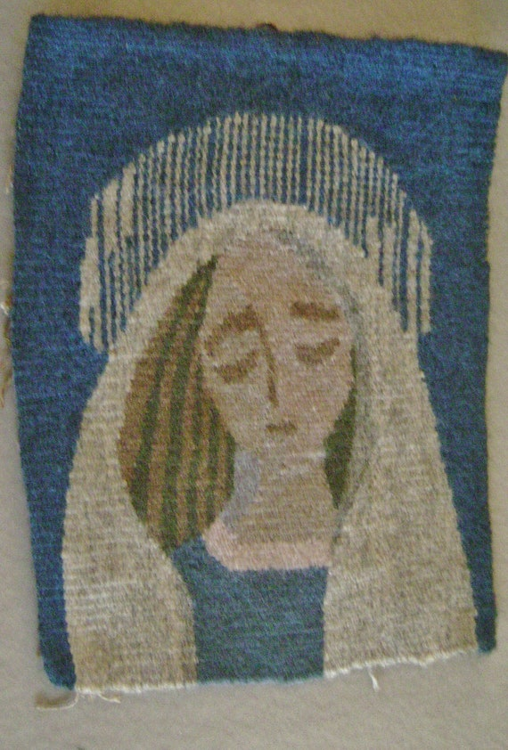 "Vintage Wall Hanging Wool Flemish Art Needle Work on hand woven wool  portrait 7"" by 9"""