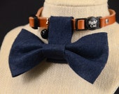 SMALL Snappy Critter Collar Bow Tie - Tardis Blue