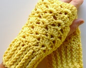 Yellow Fingerless Gloves Yellow Wrist Warmers Pale Yellow Handmade Crochet