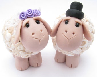 Sheep Love, Custom Wedding Cake Topper, Polymer Clay Wedding Cake Topper, Anniversary Cake Topper, Bride and Groom, Wedding Cake Decor