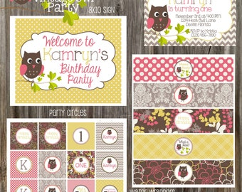 Vintage Classic Owl Pink, Gray and Yellow Birthday Party Package - Girl DIY Printable